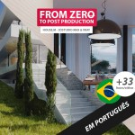 From Zero to post production, House.M 3D studio Max and Vray Course 3D in portuguese language. Capa do Curso 3D do zero à pós produção em Língua portuguesa